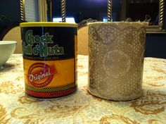 From coffee can to cute container with twine and Modge Podged paper