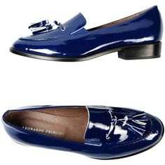 Leonardo Principi Moccasins (110 BAM) ❤ liked on Polyvore featuring shoes, loafers, dark blue, tassel shoes, mocassin shoes, dark blue shoes, leather sole moccasins and leather sole shoes