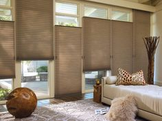 Warm and toasty, heart-warming neutral colors and energy efficient Alustra® Duette® Architella Honeycomb Shades ♦ Hunter Douglas Window Treatments Hunter Douglas, Cellular Blinds, Cellular Shades, Magazine Deco, Blackout Shades, Honeycomb Shades, Woven Wood Shades, Boutique Deco, Patio Shade