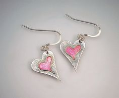 Have a Heart Fine Silver and Pink Enamel Earrings on Sterling Silver Earwires. Handmade. £36.00, via Etsy.