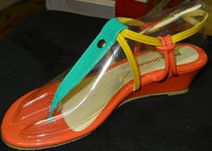 Tropical Multi Color Block Strappy Wedge Sandal