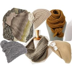 """chunky/slouchy knitted hats & scarves"" by rewindknits on Polyvore"
