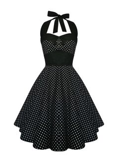 Rockabilly Dress Black Polka Dot Halter Pin par LadyMayraClothing