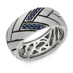 Effy Sapphire and Sterling Silver Ring ($115) ❤ liked on Polyvore featuring men's fashion, men's jewelry and men's rings