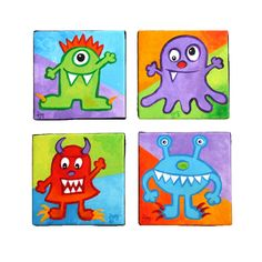 Art for Kids, 4 LITTLE MONSTERS No.3, Four 5x5 acrylic canvases, Kids Room Wall Decor, Playroom Art, Nursery Art.