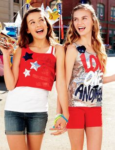 Cute patriotic, sequined tops for your girls from Justice, just in time for the Olympics.