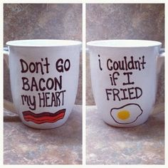 Bacon & Egg Mug. For Snackdown/DIY! I can't think of a more perfect sample craft for February! Egg Mug, Ideias Diy, Do It Yourself Home, Homemade Gifts, Morning Coffee, Just In Case, Coffee Cups, Coffee Coffee, Tea Cups