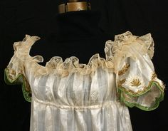 Bodice detail of Neoclassical silk dress, c.1805, from the Vintage Textile archives.