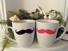Couples Mustache Mug Black Pink Mustaches by YouniquelyElegant #BlackFriday #CyberMonday