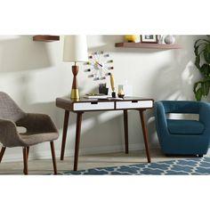 Baxton Studio Casarano Mid-Century Modern Dark Walnut and White 2-Tone Finish 2-Drawer Wood Home Office Writing Desk - Walmart.com