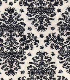 Silky Prints Stretch Satin Fabric-Damask Black White