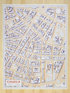 Illustrated by Gonzalo del Val & Diego Delas This illustrated poster map of Chueca (neighbourhood of Madrid) meticulously highlights the streets and squares with the quirky in-the-know hallmarks and landmarks that make this neighbourhood so unique.