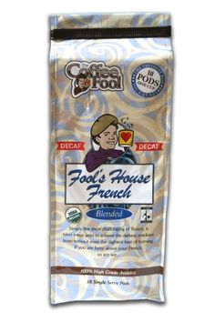 Coffee Fools Organic Fair Trade House French Pods  18 Single Serve  Dark Roast Decaf -- Continue to the product at the image link.