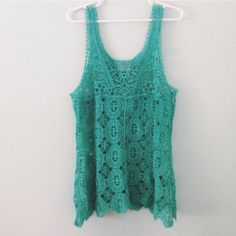 "• Urban Outfitters Turquoise Lace Top • •Info Only worn twice, this top is in excellent condition. True to size, selling because I never wear it anymore.   •Measurements  Length: 21.5"" Width: 18""  🔹No Trades/alternate transactions 🔹24 hour holds ONLY 🔹Make fair offers through offer button 🔹Same or next day shipping 🔹Free gift with every purchase $20+ 🔹Scratch off coupon given with all orders 📷 Closet Instagram: @alexandra.como 📷 Personal Instagram: @alexcomo Urban Outfitters Tops"