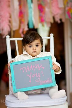 Cute idea to take a picture of the kid at the birthday to use on thank you notes