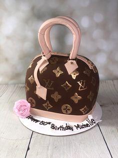 Louis Vuitton inspired purse cake for the designer lover Chanel Birthday Cake, 20 Birthday Cake, Birthday Cakes For Teens, Birthday Month, Birthday Celebration, Shoe Cakes, Purse Cakes, Louis Vuitton Cake, Camo Wedding Cakes