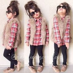 Toddler fashion - loving the fur and plaid
