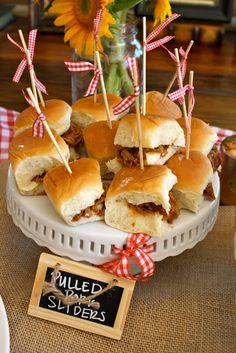 BBQ Sliders with toothpick on top with card stock cowboy hat and boots
