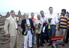 International sand artist Sudarsan Pattnaik welcome the team of British parliamentarian at Puri beach during their visit to Odisha, India