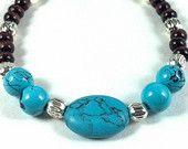Womens handmade beaded bracelet.  Turquoise, wood, silver.