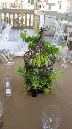 birdcage centerpieces for each table.  I love the white and green combo.