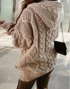 Knitting Thickening Hooded Cardigan Coat With Hat