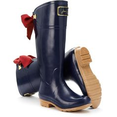 French Navy Evedon Womens Premium Welly | Joules UK (1,975 MXN) ❤ liked on Polyvore featuring shoes, boots, navy rain boots, navy blue boots, navy shoes, wellington boots and navy blue rain boots