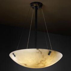 LumenAria 18-Inch Bowl 3000 Lumen LED Pendant with Pair Square Finials