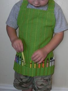 Kids love pockets!...Make an apron from this Dishtowel TUTORIAL...cute, cute for crayons or for boy's toy cars. Country Porch Home Decor has every color and pattern of dishtowels. Be sure and check out discontinues too.