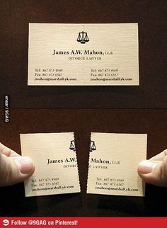 This is one clever business card - Perfect for Divorce lawyers!