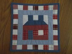 """Schoolhouse / House Quilted Wall Hanging 9.5"""" x 9.5"""" by QuiltCraftByAmie on Etsy"""