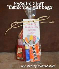A thank you gift bag that is perfect for the hospital staff!