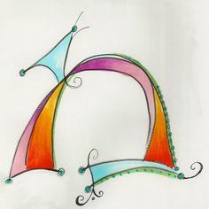 Dabbling in whimsical Hebrew letters. Hebrew Mem by Allison Carter Cool Lettering, Lettering Design, Hand Lettering, Zentangle For Beginners, Learn Hebrew, Calligraphy Letters, Letter Art, Typography, Quilts