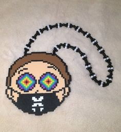 Morty Excision Kandi Necklace by kandiiishop on Etsy Kandi Patterns, Perler Patterns, Beading Patterns, Pearler Beads, Fuse Beads, Rave Candy, Rave Bracelets, Festival Accessories, Rave Accessories