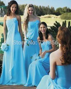 33e6f2dcbac A-Line Princess Strapless Sleeveless Hand-Made Flowers Floor-Length Chiffon Bridesmaid  Dresses - Blue Bridesmaid Dresses - Bridesmaid Dresses