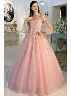 Chic A-line Pink Prom Dress,Off-the-shoulder Tulle Applique Long Sleeve Evening Dress Party Dress ,P1466
