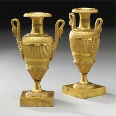 c1805 A pair of Empire ormolu small urns circa 1805 Estimate 5,000 — 7,000 USD LOT SOLD. 3,750 USD (Hammer Price with Buyer's Premium)