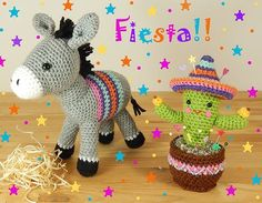 Crochet pattern for Dante the donkey and Carlos the cactus by Janine Holmes at Moji-Moji Design