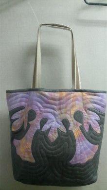 デニム生地でHawaiian Quilt Bag