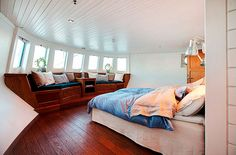 This floating house is located in downtown Stockholm and its built inside a barge. This floating house is located in downtown Stockholm and its built inside a barg Barge Interior, Boat Interior, Interior Design, Interior Do Barco, Dutch Barge, Houseboat Living, Living On A Boat, Floating House, Tiny House Movement