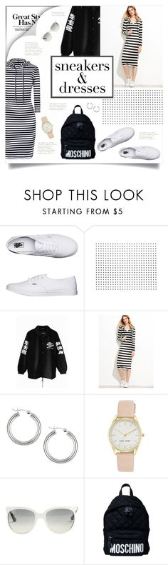 """Sneakers and Dresses"" by retrocat1 ❤ liked on Polyvore featuring Vans, Sterling Essentials, Nine West, Ray-Ban and Moschino"
