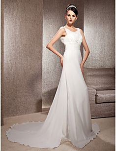 A-line Scoop Court Train Chiffon Wedding Dress. Grab unbeatable discounts up to 70% Off at Light in the box using Coupons.