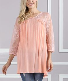 Pink Lace-Accent V-Neck Tunic - Plus Too