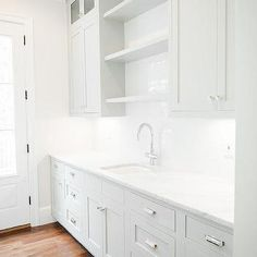 Grey Butler Pantry Cabinets with White Marble Countertops, Transitional, Kitchen, Benjamin Moore Classic Gray