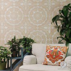 Large Moroccan Suzani Tile Stencils for DIY Painting Walls & Floors | Royal Design Studio Stencils