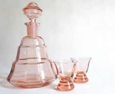 Vintage Art Deco Glass Decanter with two Glasses by BerlinoVintage, €40.00
