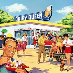 Two of my favorite things: Dachshunds and Dairy Queen! Dairy Queen 1960 ad - note Dachshund (right side of ad! Retro Vintage, Pin Up Vintage, Retro Ads, Vintage Beauty, Vintage Advertisements, Vintage Food, Retro Advertising, School Advertising, Retro Diner