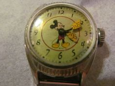 Antique Walt Disney Mickey Mouse Watch US TIME Green Watch Face 40s Mickey Mouse 20th Birthday Series   RevintageLannieJewls.Etsy.com