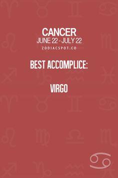 Cancer Zodiac Sign ♋ Best Accomplice: Virgo