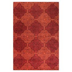 Add a pop of pattern to your living room or den with this hand-tufted wool rug, showcasing a classic medallion mosaic motif in red.    ...